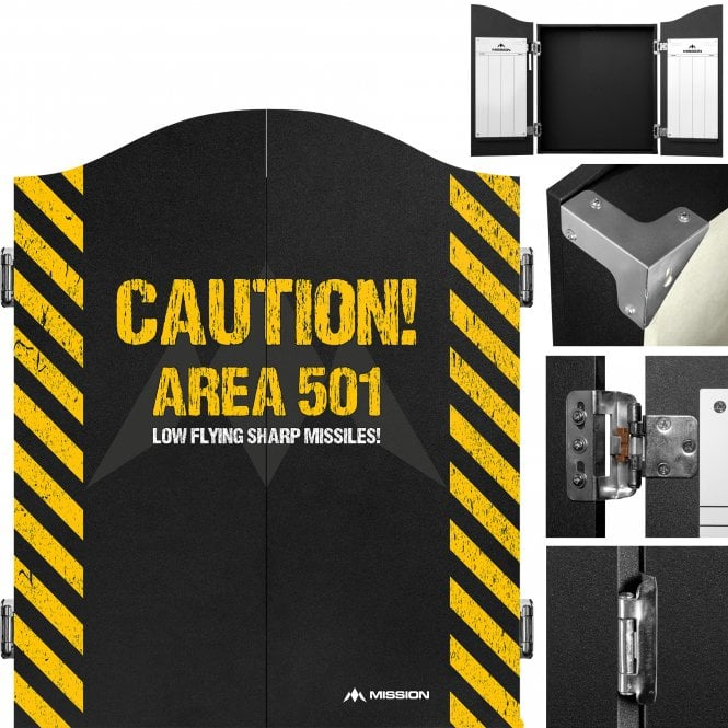 Mission  Dartboard Cabinet - Deluxe Quality - Area 501 - Caution