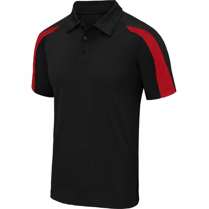 Designa Dart Shirts - Polo Shirt - Just Cool Contrast - Black with Red
