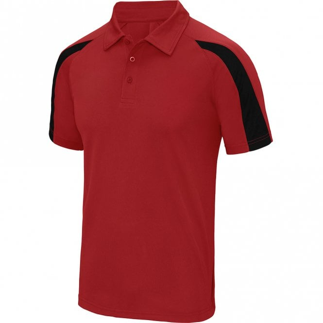Designa Dart Shirts - Polo Shirt - Just Cool Contrast - Red with Black