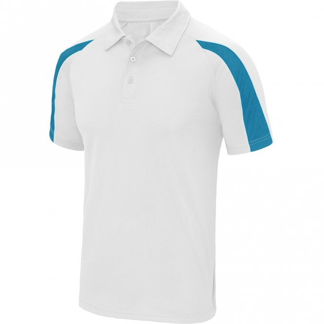 Designa Dart Shirts - Polo Shirt - Just Cool Contrast - White with Blue