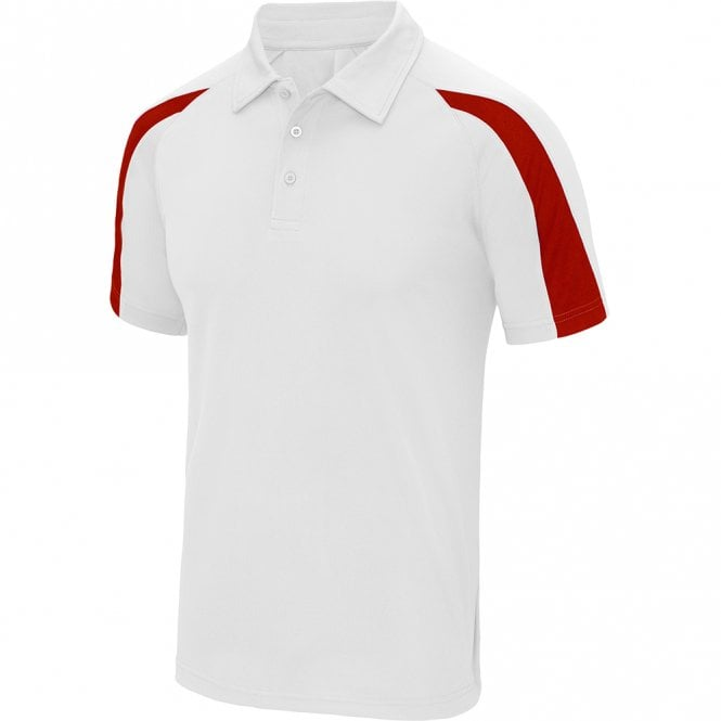 Designa Dart Shirts - Polo Shirt - Just Cool Contrast - White with Red