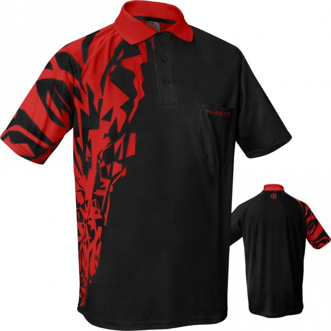 Harrows  Rapide Dart Shirt - with Pocket - Black & Red