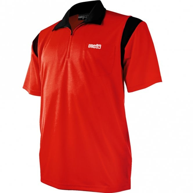 One80  - Dart Shirt - Polo Shirt - Red with Black