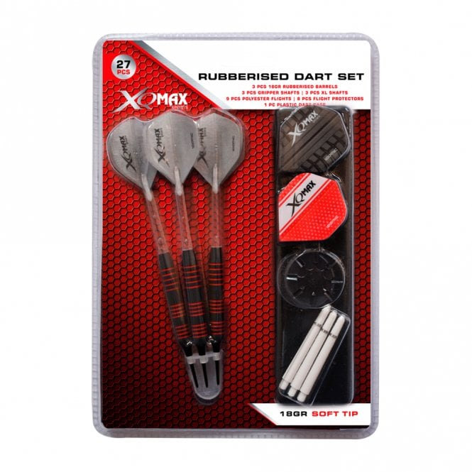 XQMax  Rubberised Soft Tip Dart Set - with Extras - Black - 18g