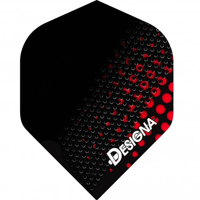 Designa  Dart Flights - Extra Strong - Std - Spotted Metal - Red