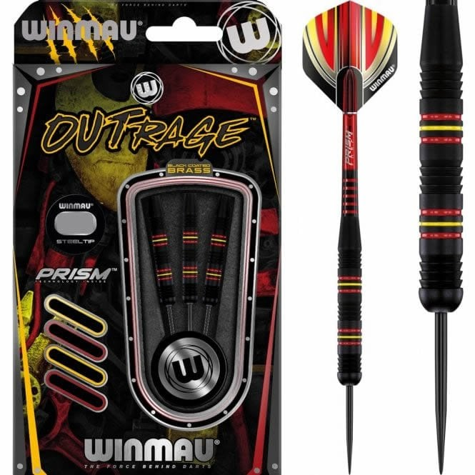 Winmau  Outrage Darts - Steel Tip Coated Brass - Black - 21g