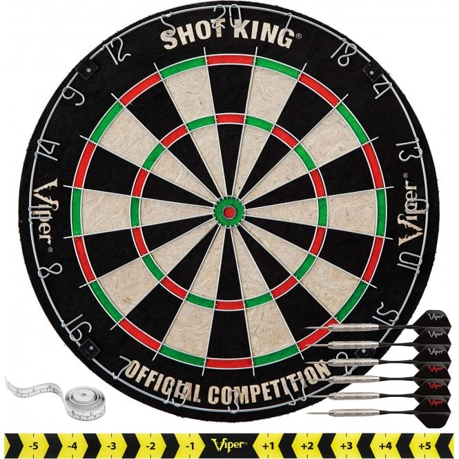 Viper  Shot King Sisal Dartboard - Round Wire System - with 6 Steel Tip Darts