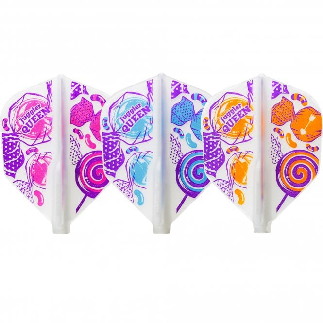Cosmo Darts Cosmo Fit Flight - Juggler Queen - Shape - Clear White - Mix - Candy